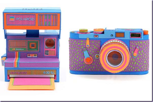 Arte-Recortes-Papel-Câmeras-Polaroid