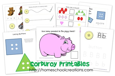 Corduroy Printables collage