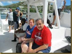 bill and lynn on catamaran