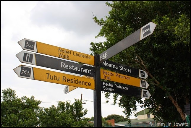 Signposts outside Nelson Mandela's House