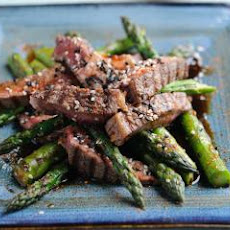 Rib Eye with Grilled British Asparagus and Teriyaki Sauce