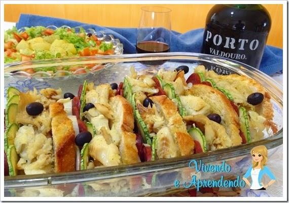 Bacalhau com pão italiano e linguiça portuguesa