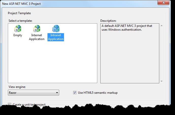 New ASP.NET MVC 3 Project