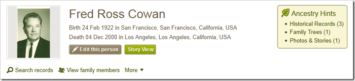 Fred Ross Cown example from person page on Ancestry.com
