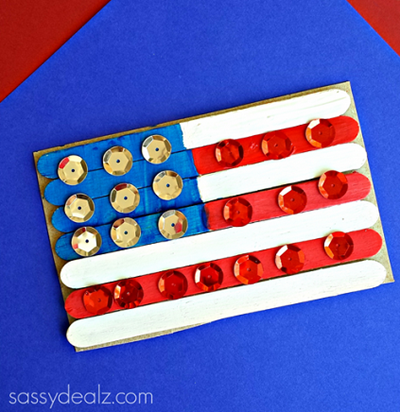 Popsicle Stick American Flag from Sassy Dealz