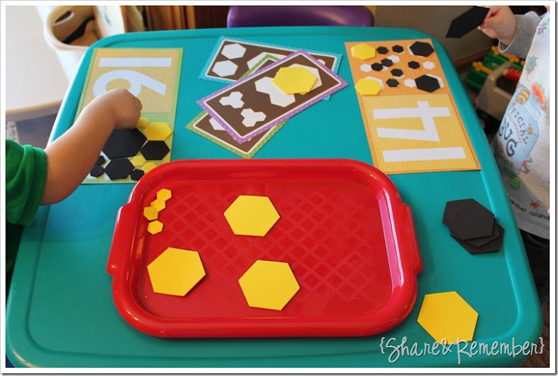 Preschool Activity Trays - number & shape math sets