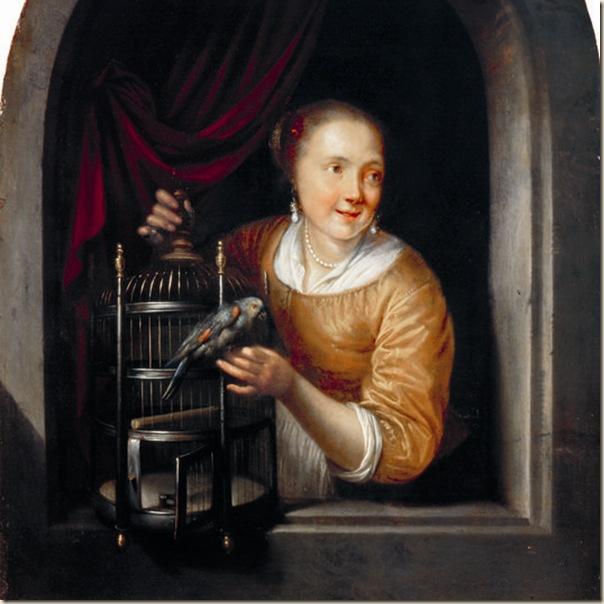 Gérard Dou, femme au perroquet