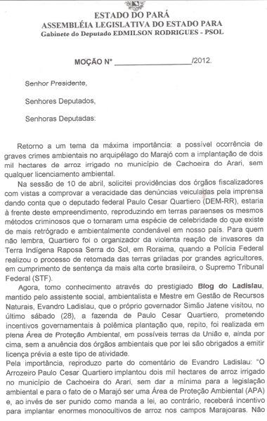 Moção contra arrozeiros Marajó pag 1