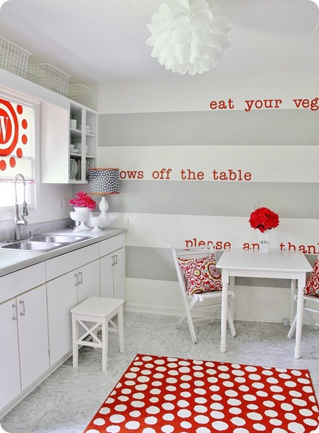Fun gray and red kitchen