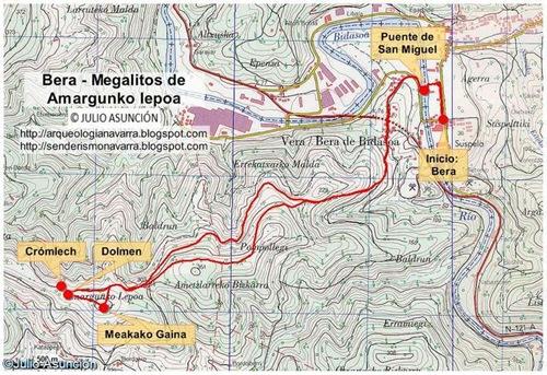 Mapa ruta megalitos de Amargunko lepoa