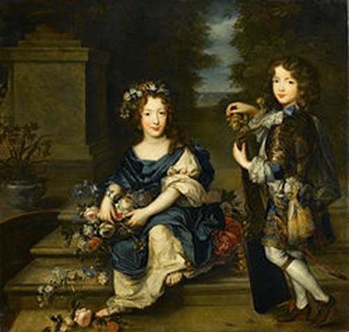 Luis, el conde Vermandois, en compañía de su hermana Mademoiselle de Blois