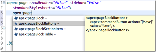 Visualforce template based content assist box in Eclipse