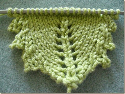 My own pattern for a knitted leaf with serrated edges