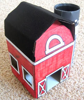 Cardboard Red Barn with Silo 5