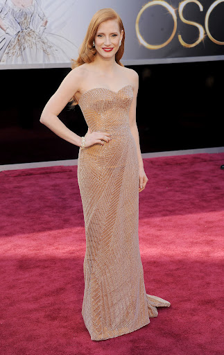 Nominee Jessica Chastain in Armani Privé gown and Harry Winston jewels.