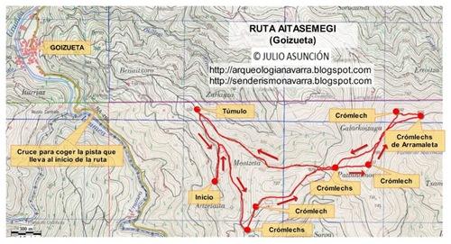 Mapa ruta megalítica Goizueta