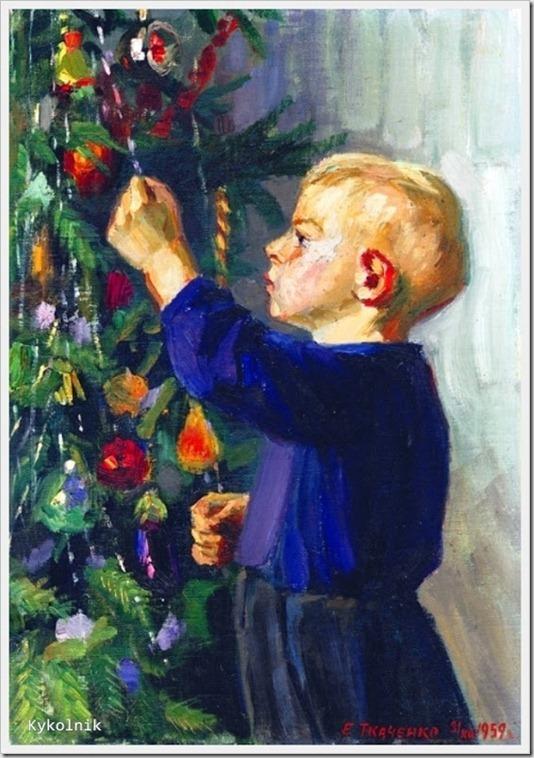 Ткаченко Евгений Николаевич (Россия, 1923 – 2002) «Новый год» 1959