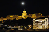 Buda Castle at night, viewed from the Danube