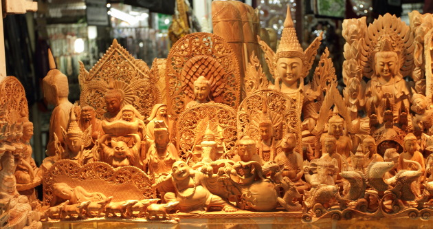 Wooden Souvenirs for the taking at Bogyoke Aung San Market, Yangon