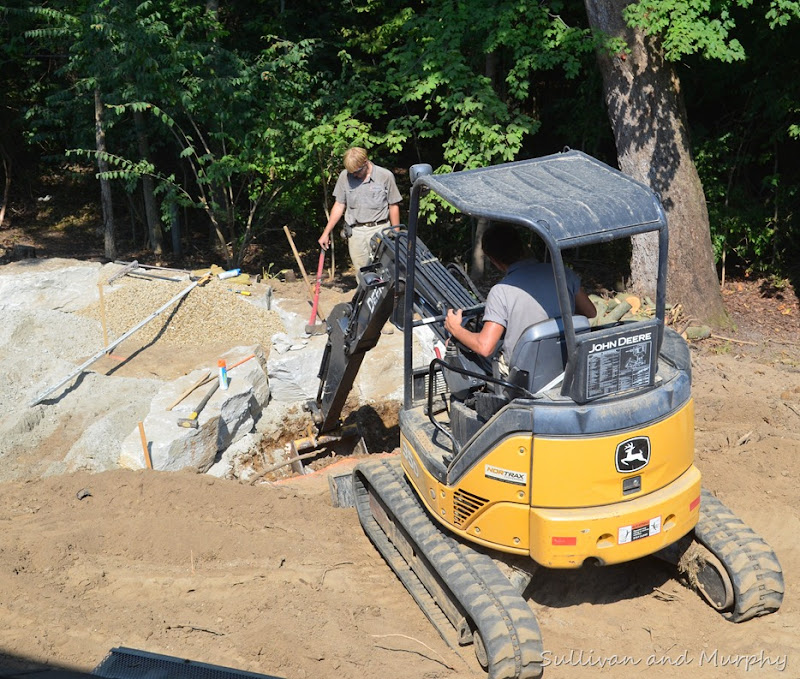 excavating for the waterfall basin