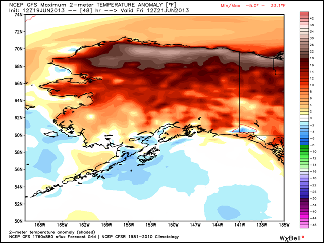 Alaska temperature anomaly with respect to a normal forecast for Friday, 21 June 2013 by GFS model. Graphic: WeatherBell.com