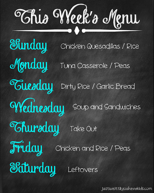 October 5-11 Meal Plan