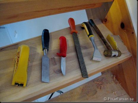 Handverktyg vid slipning av furutrappa
