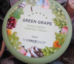 the face shop green grape hand and body shiffon cream, bitsandtreats