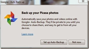 An invitation to use Auto Backup from Picasa