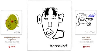 Exemploas da galeria online de trabalhos produzidos pelos visitantes do Mr. Picasso Head