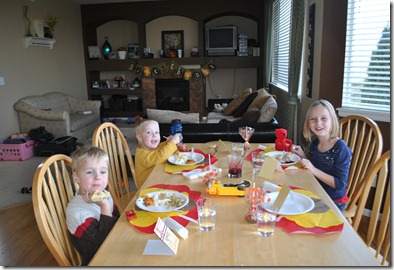 The kids table.  Jack wouldn't eat any Thanksgiving dinner