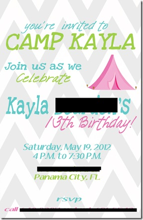 Kayla's 13th camping birthday invite copy blog
