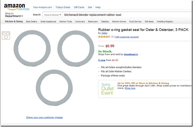 Amazon.com Rubber o-ring gasket seal for Oster & Osterizer, 3 PACK. Kitchen & Dining - Windows Internet Explorer 452013 45801 PM