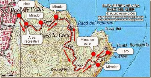 Mapa ruta sierra helada faro albir