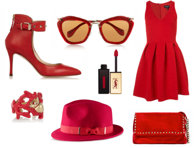 Robe rouge h m