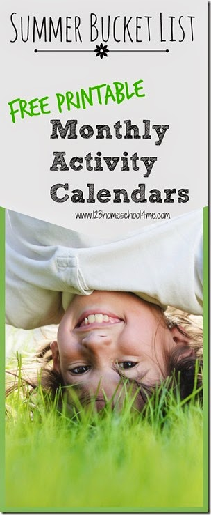 Summer bucket list - LOVE these convenient, free printable monthly activity calendars! Lots of fun ideas without all the work of planning every day.