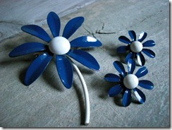 blue daisy enamel pin and earrings
