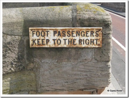 These signs are on the old road bridge into Berwick upon Tweed.