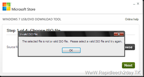 The selected file is not valid ISO file Windows 7 DVD USB tool