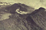 An aerial view from the south shows the complex summit of Papandayan volcano. The lighter-colored area at the left is Alun-Alun, the uppermost of four summit craters. Steam rises from a hydrothermal area within a large crater, breached to the NE, that formed by collapse of the summit in 1772. The forested peak at the right is the eastern summit of Gunung Papandayan. The two peaks at the upper left are Gunung Puntang and Gunung Jaja.</p> <p>Photo published in Taverne, 1926 &quot;Vulkaanstudien op Java,&quot; (courtesy of Volcanological Survey of Indonesia).