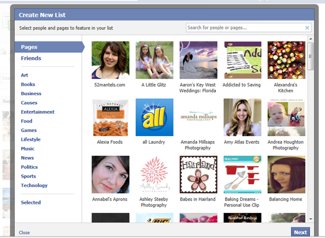 Creating a Facebook Interest List  by www.poofycheeks.com