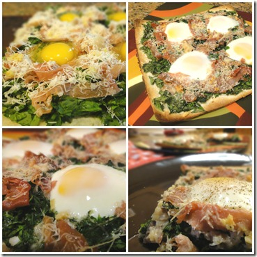 egg, ham, spinach pizza collage