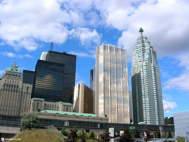 magnificent view of the financial center in downtown toronto in Toronto, Ontario, Canada