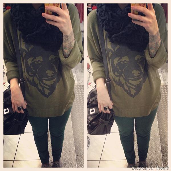look com calça verde, maxi blusão com estampa, casaco preto e gola (3)