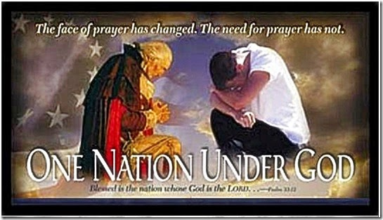 G Washington & American Praying, Flag & Under God