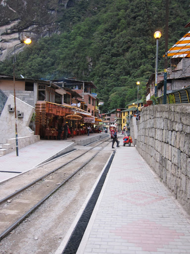 The railroad track through Aguas Calientes.