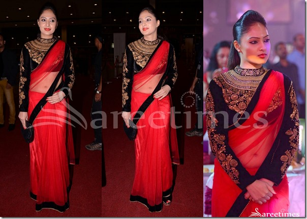 Nikesha_Patel_Red_Net_Saree