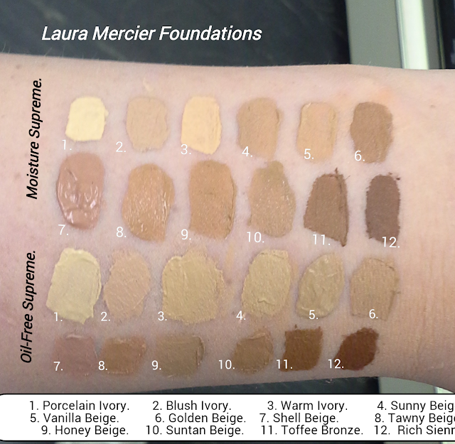 Laura Mercier Oil-Free Supreme Foundation & Laura Merciere Oil Free Supreme Foundation; Review & Swatches of Shades 1 Porcelain Ivory, 2 Blush Ivory, 3 Warm Ivory, 4 Sunny Beige, 5 Vanilla Beige, 6 Golden Beige,  7 Shell Beige, 8 Tawny Beige, 9 Honey Beige, 10 Suntan Beige, 11 Toffee Bronze, 12 Rich Sienna