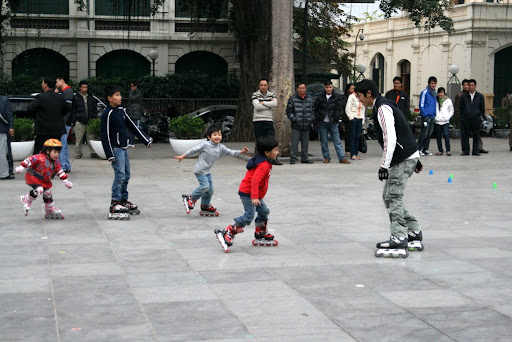 Some of the local kids attempting their first roller blading lesson; not too many tears and plenty of smiles!