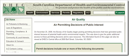 South Carolina Department of Health and Environmental Control Air Quality Permits